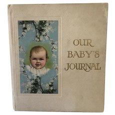 "Wonderful Antique 1918 Baby Scrapbook ""Julia Elizabeth Lowry"" Illustrations"