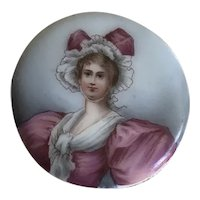 Beautiful Antique Miniature Hand Painted Portrait Woman in Fancy Hat, Dress