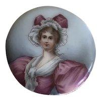 Beautiful Antique Miniature Hand Painted Portrait Woman in Fancy Hat, Dress
