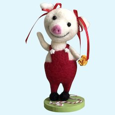 "Sweetest Handmade Needle Felted Little Girl Pig ""Patty"" by MJ Keeton"