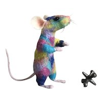 Sweet Handmade Needle-Felted Rainbow Mouse OOAK