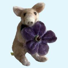Adorable Hand Needle-Felted Pig Holding an Antique Velvet Flower