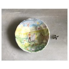 """RESERVED French Faience Style Pottery Dish by Julie Whitmore """"Us"""""""