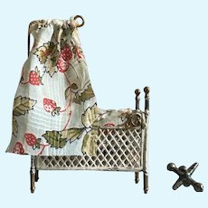 Wonderful Antique Miniature Soft Metal Dollhouse Bed Fully Dressed