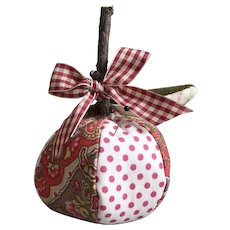 "Adorable Handmade Quilted Cotton ""Apple"" Pin Cushion"