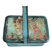 Charming Hand Painted Dia De Muertos Hinged Lid Handled Vintage Pail