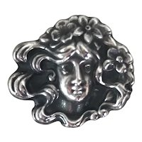 Gorgeous Antique Art Nouveau Sterling Silver Pin Woman with Flowers in Her Hair