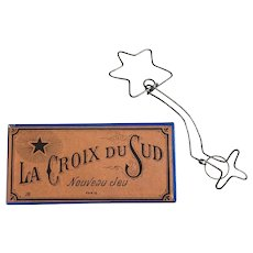 """Wonderful Antique French Metal Brain Teaser Puzzle in Original Box """"The Southern Cross"""""""