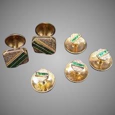 Handsome Mens 18k Yellow Gold 2.18ct Emerald Diamond Cufflinks Shirt Studs 6 Piece Set