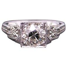 Exquisite Art Deco 18k White Gold 1.28ct Round European Cut Diamond Engagement Ring Anniversary Promise Wedding Size 7.5