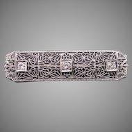 Art Deco Platinum & 14k White Gold Round European Cut Diamond Filigree Bar Pin