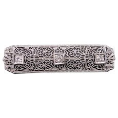 Art Deco Platinum & 14k White Gold Round European Cut Diamond Filigree Bar Pin