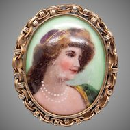 Amazing Retro Era 14k Yellow Gold Painted Woman Portrait Pendant Brooch Pin Pendant