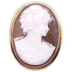 Vintage 14k Yellow Gold Carved Shell Cameo Woman Portrait Brooch Pin Pendant