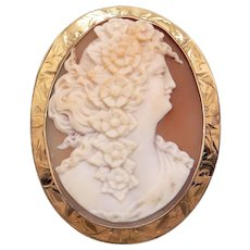 Retro Era 10k Yellow Gold Carved Shell Cameo Woman Portrait Flower Brooch Pin Pendant