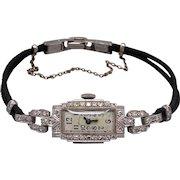 Art Deco 14k White Gold Diamond Hamilton Manual Wind Watch 17 Jewels 995