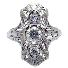 Art Deco 18k White Gold Filigree .65ct Round European Cut Diamond Cluster Ring Size 5