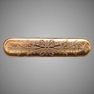 Victorian Solid 14k Yellow Gold Ornate Swirl Flower Bar Brooch Pin 1900s