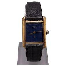 Must de Cartier Tank Paris 18k Gold Vermeil Plaque Manual Wind Blue Dial Watch With Box