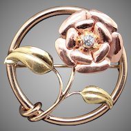 Retro Tri Color 14k Yellow Rose Green Gold Blue Zircon Rose Flower Brooch Pin