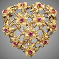 Gorgeous Tiffany & Co 18k Yellow Gold .78ct Round Ruby Flower Heart Brooch Pin With Box