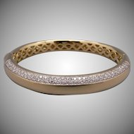 Exquisite 18k Yellow Gold 1.50ct Round Cut Diamond Tennis Bangle Cuff Pave Bracelet 6.5 inch