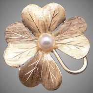 Adorable 14k Yellow Gold 5mm Round White Cultured Pearl 4 Leaf Clover Flower Brooch Pin