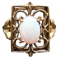 Ornate 14k Yellow Gold .75ct Oval Cabochon Multi Color Opal Band Ring Size 4.5