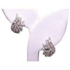 Dazzling 18k White Gold 3.15ct Round Marquise Diamond Flower Cluster Earrings Omega Backs