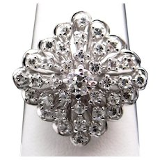 Amazing 14k White Gold 1.25ct Round European Cut Diamond Cluster Snowflake Ring Size 9.25