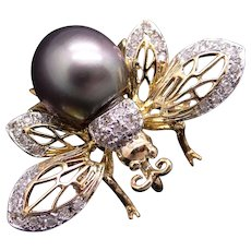 Exquisite 18k Gold Round Diamond Cultured Grey Tahitian Pearl Butterfly Bee Spider Bug Brooch Pin Pendant
