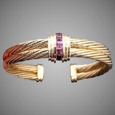 Fantastic David Yurman 18k Yellow Gold Rhodolite Garnet Classic Cable Cuff Bangle Bracelet
