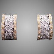 Fantastic 14k Yellow White Gold Round Cut Diamond Pave Hoop Huggie Earrings Omega Backs