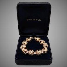 Large Tiffany & Co Signature X 18k Yellow Gold Classic Link Bracelet Box 73 grams