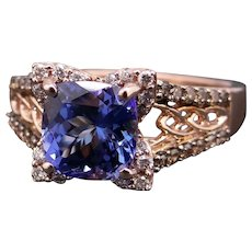 Incredible LeVian 14k Rose Gold 3.26ct Cushion Tanzanite Chocolate Diamond Halo Band Ring Size 8.5 Statement Ring