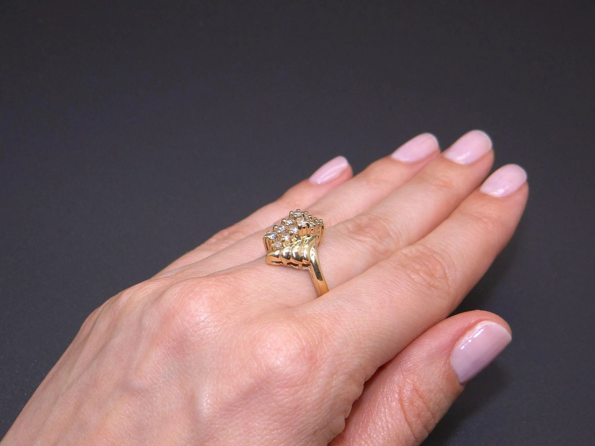 Adorable 14k Yellow Gold .50ct Round Cut Diamond Fan Cluster Wave ...