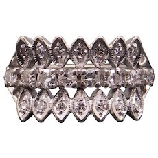 Retro 14k White Gold .50ct Round Single Cut Diamond Wide Band Cluster Cocktail Ring Size 6.5