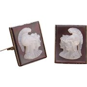 Handsome 14k Yellow Gold Carved Cultured Mother Of Pearl Cameo Cufflinks Roman Solider