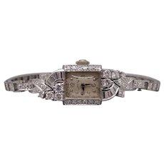 Dazzling Art Deco Platinum 14k White Gold 1ct Diamond Hamilton 757 Mechanical Dress Watch 22 Jewels