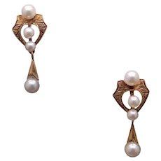 Victorian 14k Yellow Gold Dangle Drop White Pearl Cluster Earrings Non Pierced