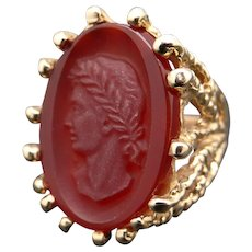 Ornate Vintage 14k Yellow Gold Carved Carnelian Stone Cameo Roman Ring Size 8