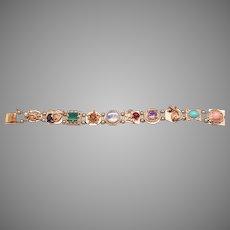 "Beautiful  14k Yellow Gold Multi Stone Portrait Turquoise Coral Slide Charm Bracelet 6.5"""