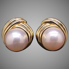 Exceptional Vintage Tiffany & Co 18k Yellow Gold Mabe Cultured Pearl Button Stud Shell Earrings With Omega Backs