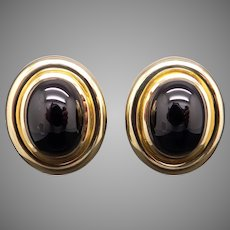 Stunning Tiffany & Co Paloma Picasso 18k Yellow Gold Cabochon Onyx Button Stud Earrings With Omega Backs
