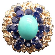 14k Yellow Gold Sky Blue Turquoise 3ct Sapphire Cocktail Cluster Ring Size 5.5