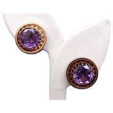 Vintage 14k Yellow Gold 16ct Round Amethyst Stud Earrings Non Pierced