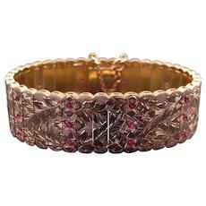 Retro Era 19k Yellow Gold 1.50ct Round Ruby 20mm Wide Flower Link Cuff Bracelet