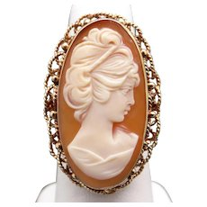 Beautiful Large Retro 14k Yellow Gold Oval Shaped Carved Shell Cameo Ring Size 8