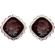 Retro 14k Rose Yellow Gold Carved Carnelian Intaglio Cameo Cufflinks Roman Solider