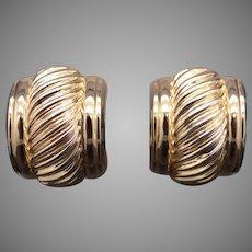 David Yurman 14k Yellow Gold Woven Cable Rope Hoop Huggie Dangle Drop Earrings With Omega Backs